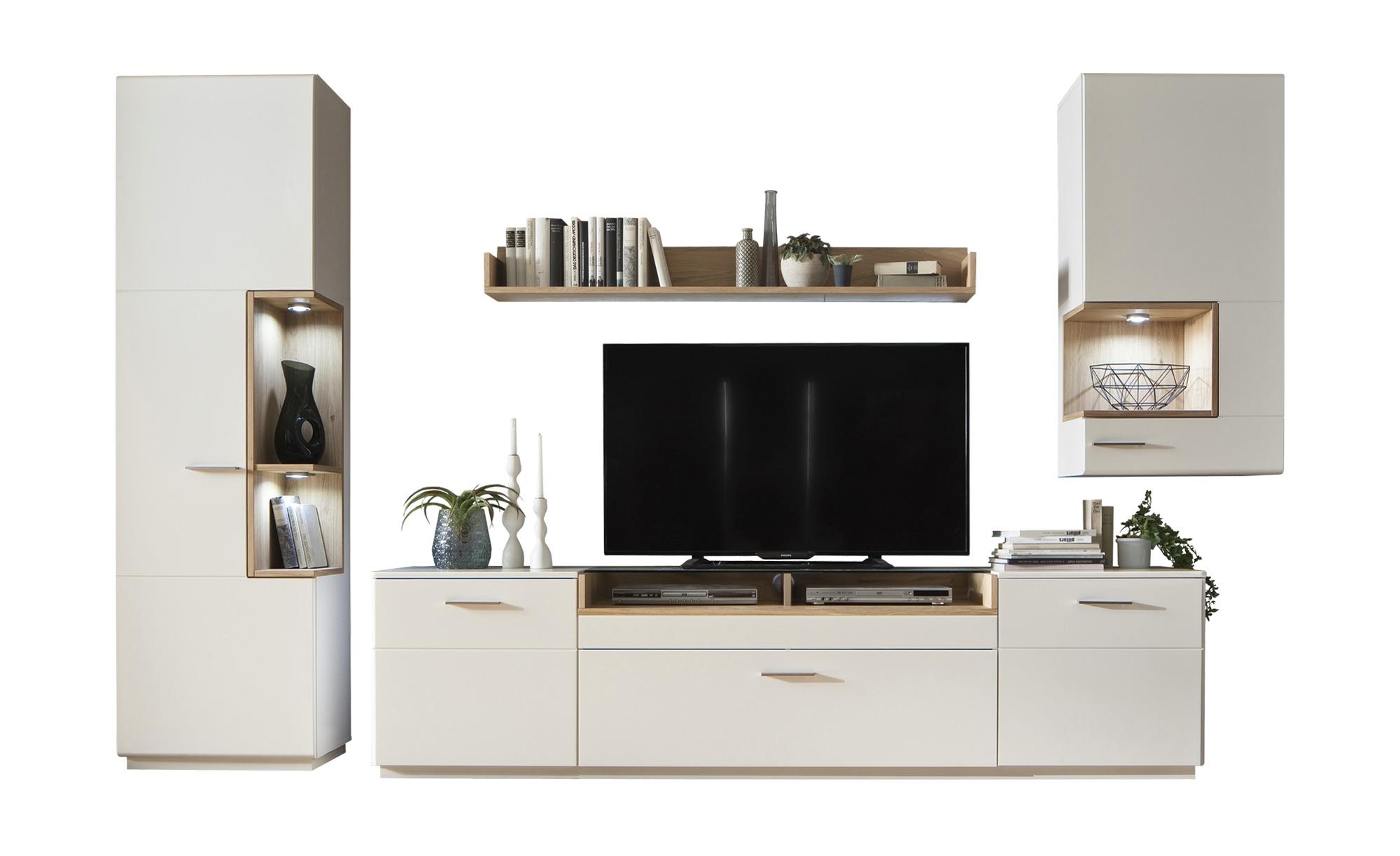 uno Wohnwand  Melin - weiß - 340 cm - 206 cm - 50 cm - Wohnwände > Anbauwände - Möbel Kraft
