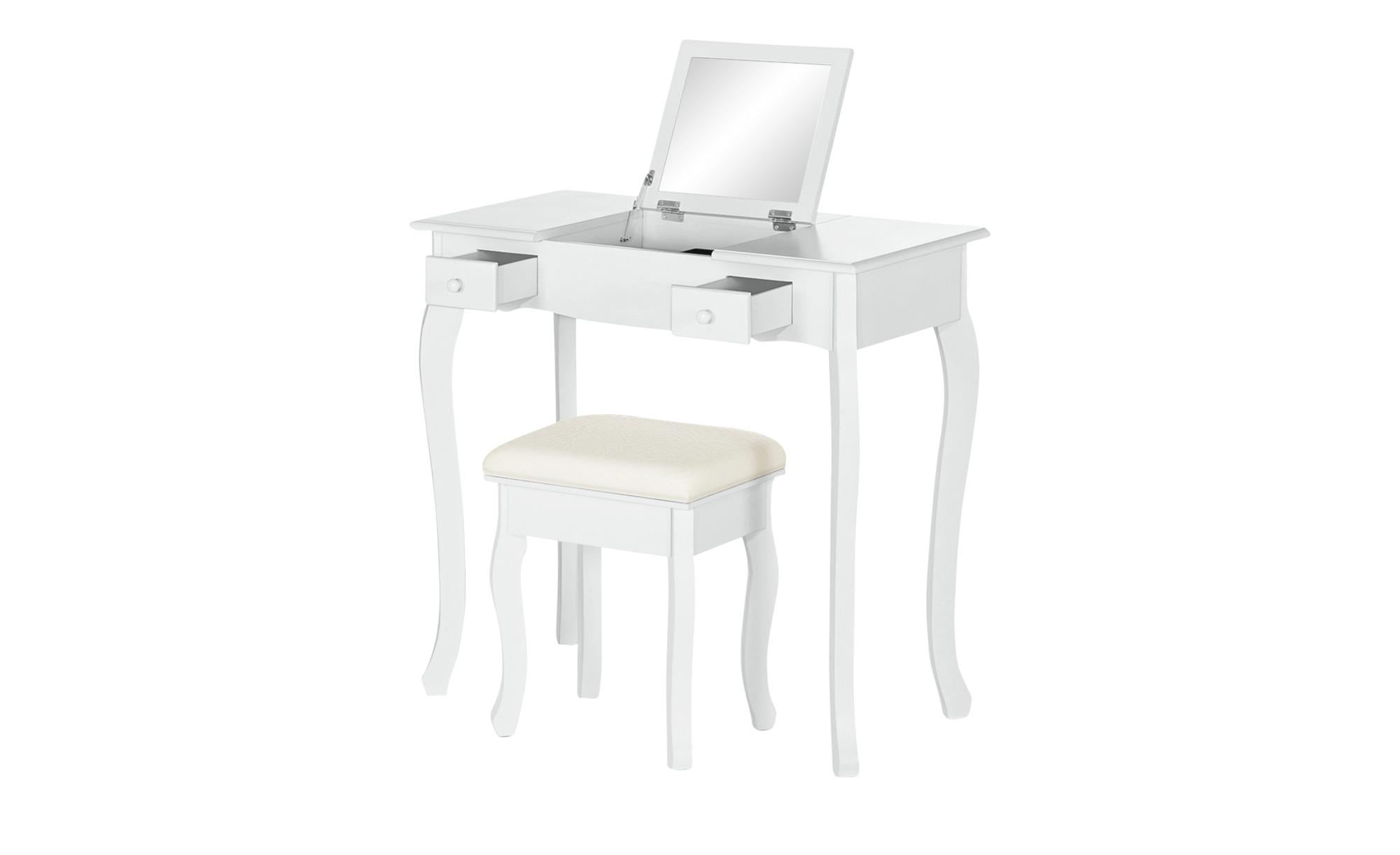 Schminktisch mit Hocker - weiß - 80 cm - 73,5 cm - 40 cm - Tische > Beistelltische - Möbel Kraft