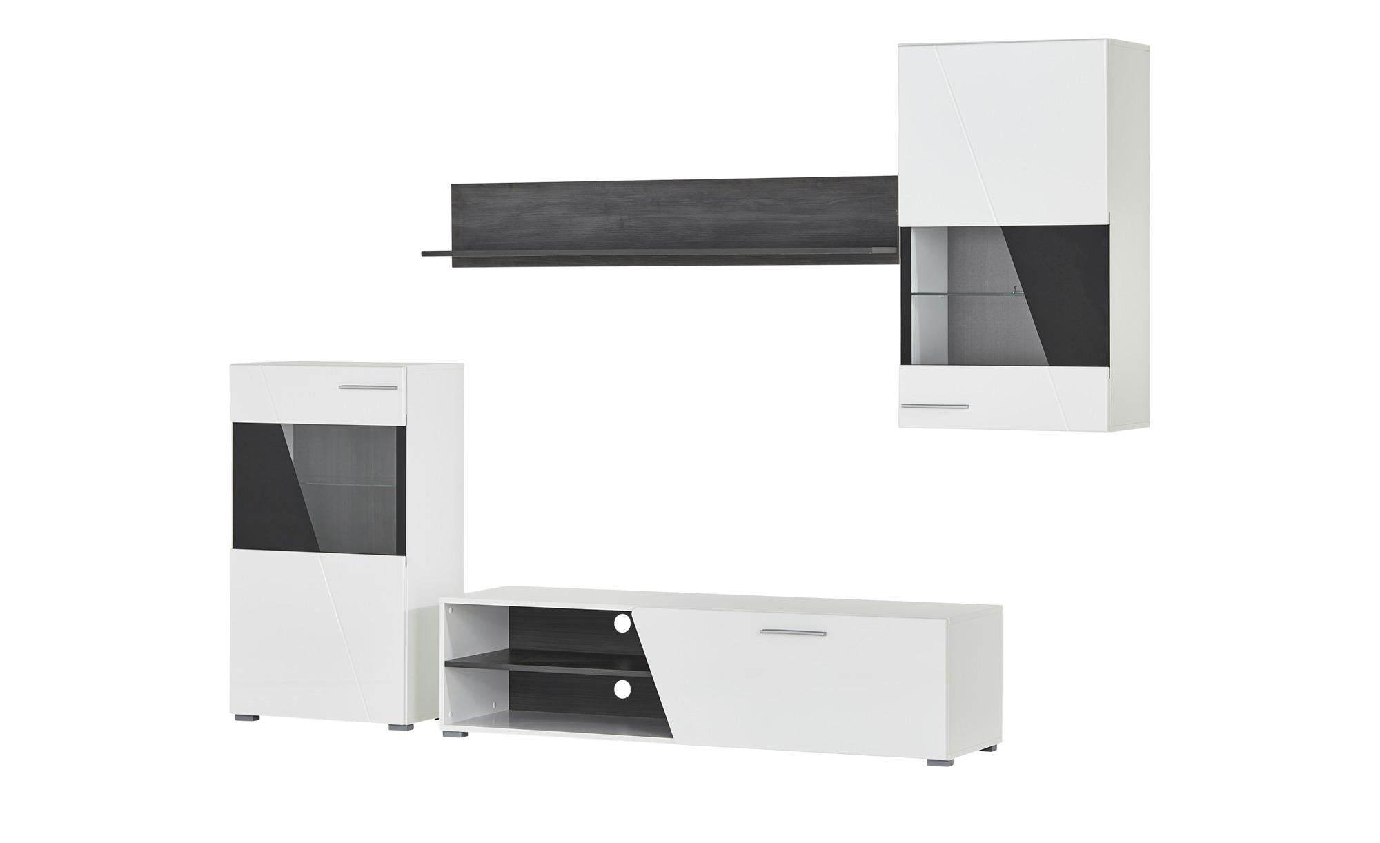 Wohnwand - weiß - 245 cm - 180 cm - 42 cm - Wohnwände > Anbauwände - Möbel Kraft