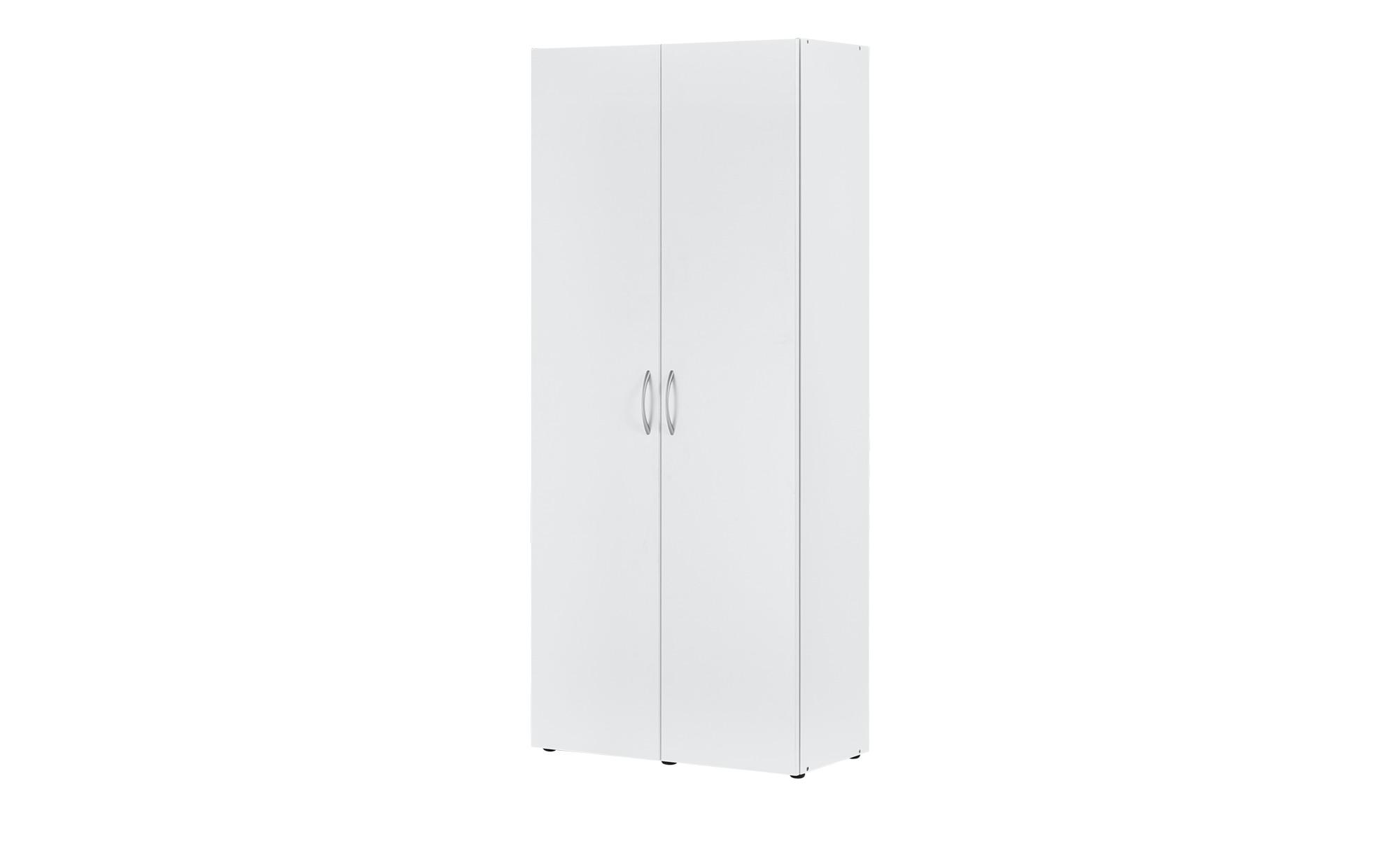 Schrank, 2-türig - weiß - 80 cm - 185 cm - 40 cm - Schränke > Kleiderschränke > Drehtürenschränke - Möbel Kraft
