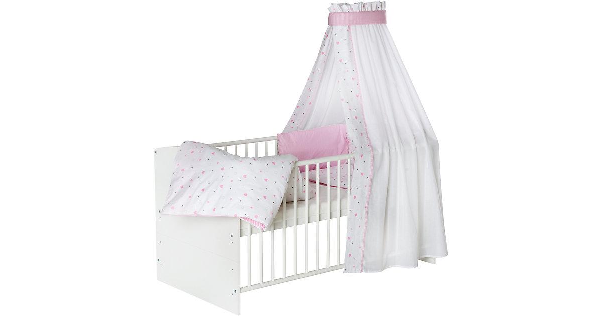 Komplett Kinderbett Classic White, Herzchen rosa, 5-tlg. (Kinderbett, Matratze, Himmelstange, Nestchen, Bettwäsche), Buche massiv, weiß lackiert, 70 x 140 cm