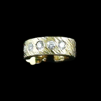 Herren Gelbgold 3/4 Creole 18 k mit spitzen Diamanten