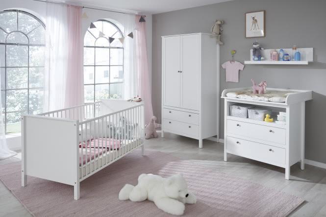 Babyzimmer Set 4-tlg inkl Kleiderschrank 2-trg Ole von Trendteam Weiss