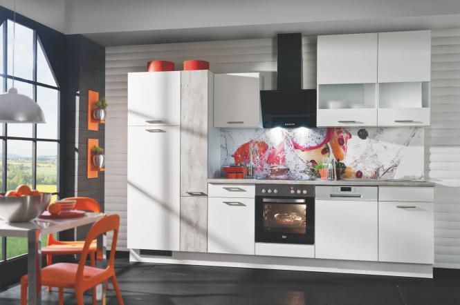 Einbauküche inkl E-Geräte 310 cm von Burger Weiss Seidenmatt / Hellgrau Betonoptik