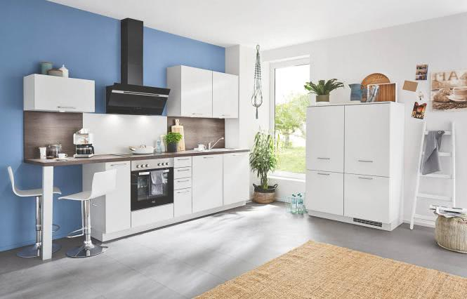 Einbauküche SPEED 259 inkl E-Geräte 300 + 120 cm von Nobilia Seidengrau / Vintage Oak