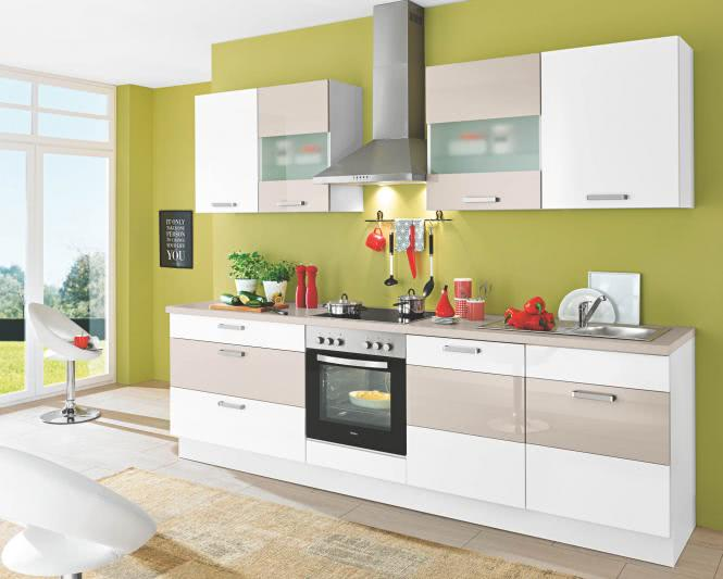 Einbauküche SUSANN MIX 273 inkl E-Geräte 280 cm von Burger Sandbeige / Weiss HG