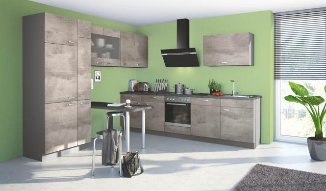Winkelküche BASE B12 inkl E-Geräte 290 x 300 cm von Express Küchen Beton Hell
