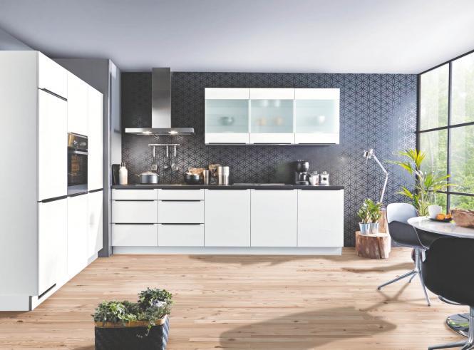 Winkelküche STAR S23 inkl E-Geräte 180 x 300 cm von Express Küchen Weiss HG / Schwarz
