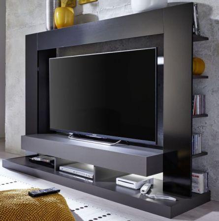 Mediawand Cyneplex in schwarz und grau Glanz TV-Schrank 164 cm TV bis 55' optional mit LED Beleuchtung