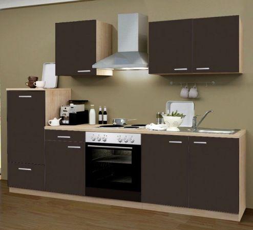 Küchenblock Classic 270 cm Lava grau Einbauküche inkl. Herd Dunstabzugshaube und Kühlschrank