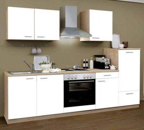 Küchenblock Classic 270 cm weiß matt Einbauküche inkl. Herd Dunstabzugshaube und Kühlschrank