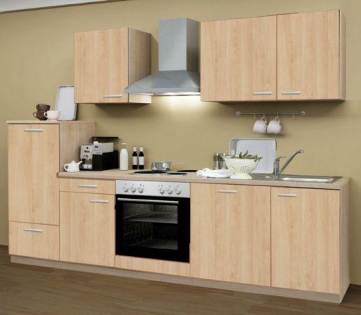 Küchenblock Classic 280 cm Eiche Sonoma Dekor Einbauküche inkl. E-Geräte + Geschirrspüler