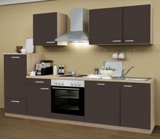 Küchenblock Classic 280 cm Lava grau Dekor Einbauküche inkl. E-Geräte + Geschirrspüler