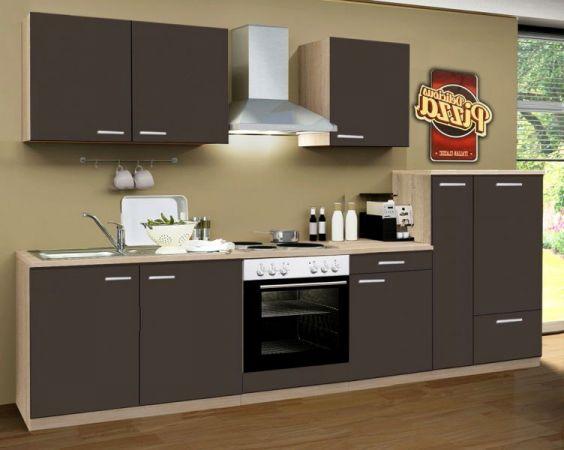 Küchenblock Classic 300 cm Lava grau Einbauküche inkl. E-Geräte und Apothekerschrank