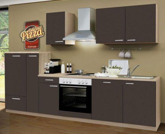 Küchenblock Classic 300 cm Lava grau Einbauküche inkl. E-Geräte + Geschirrspüler