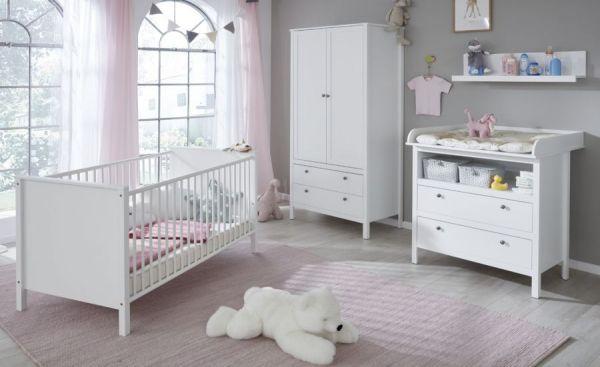 Babyzimmer Ole in Landhaus weiß komplett Set 4-teilig