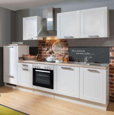 Küchenblock White Premium 270 cm weiß matt Landhaus Einbauküche inkl. Herd Dunstabzugshaube, Kühlschrank