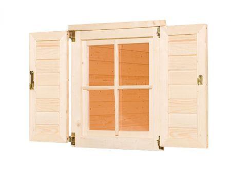 Fensterladen und Blumenkasten für Gartenhaus 123