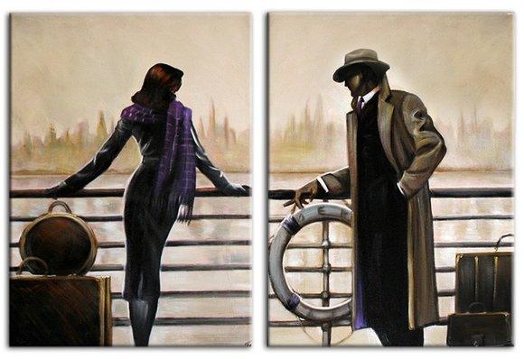 NEW YORK Fähre Real Love Echte Handarbeit Rahmen Öl Gemälde Bild Bilder G94742