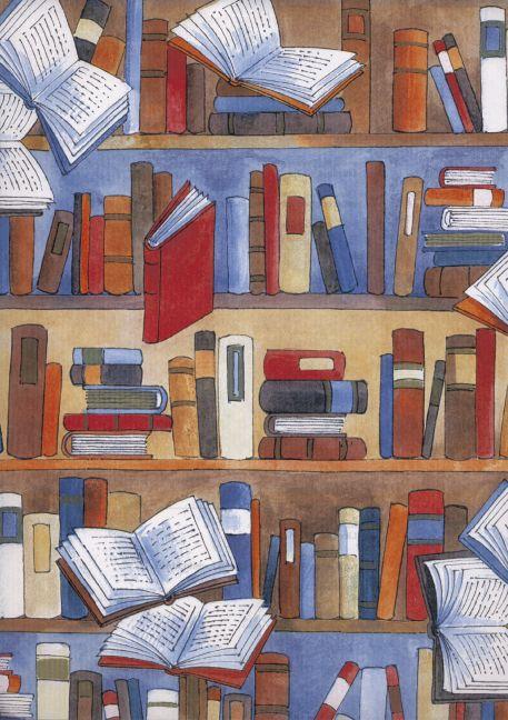 Buchhandlungsbedarf, Geschenkpapier Librairie, w. engg. N (Rolle, 50 cm)