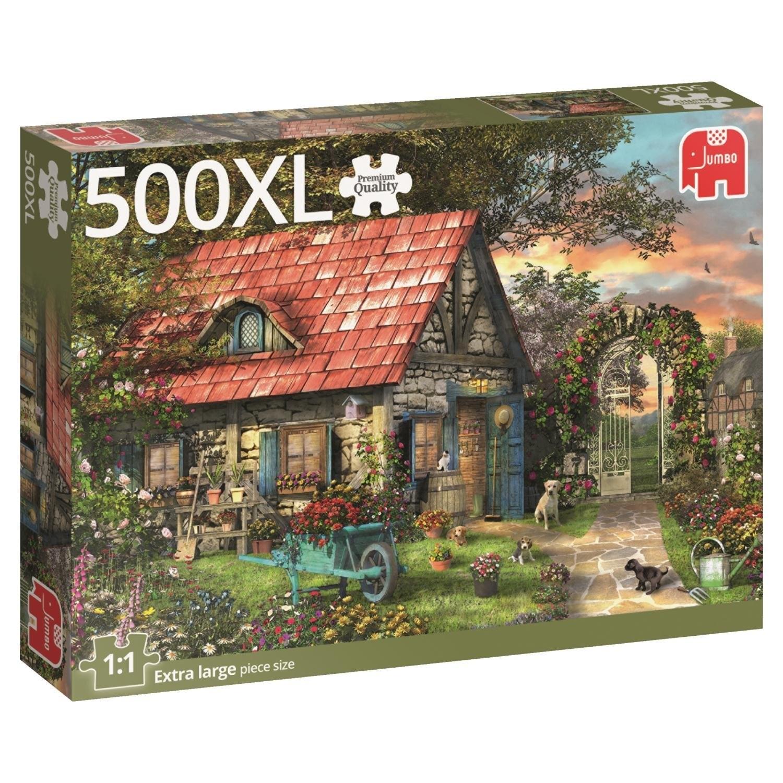 Jumbo 18529 - Garden Shed, Garten mit Gartenhaus, Puzzle, 500 Teile, XL