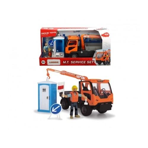 Dickie 203835005 - Playlife, M.T. Service Set, Baustellenfahrzeug, Kranfahrzeug