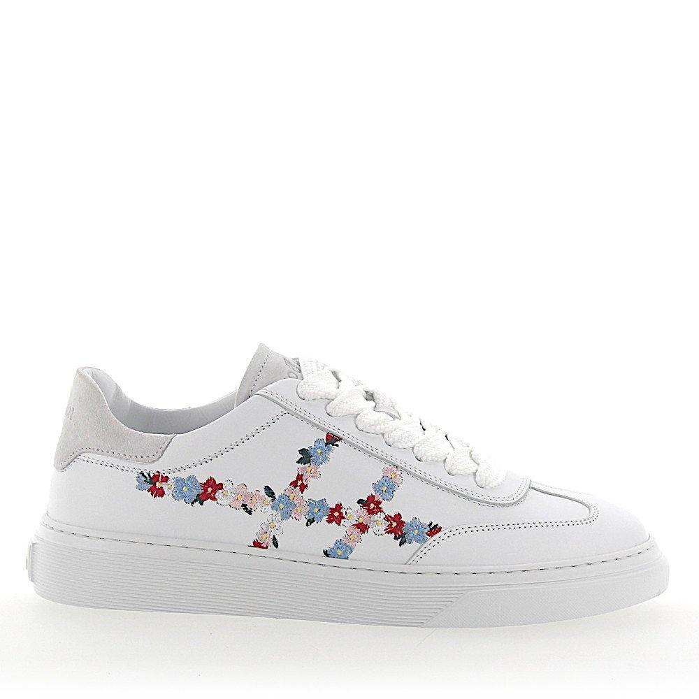 Hogan Sneaker H365 Leder weiss Blumen Stickerei
