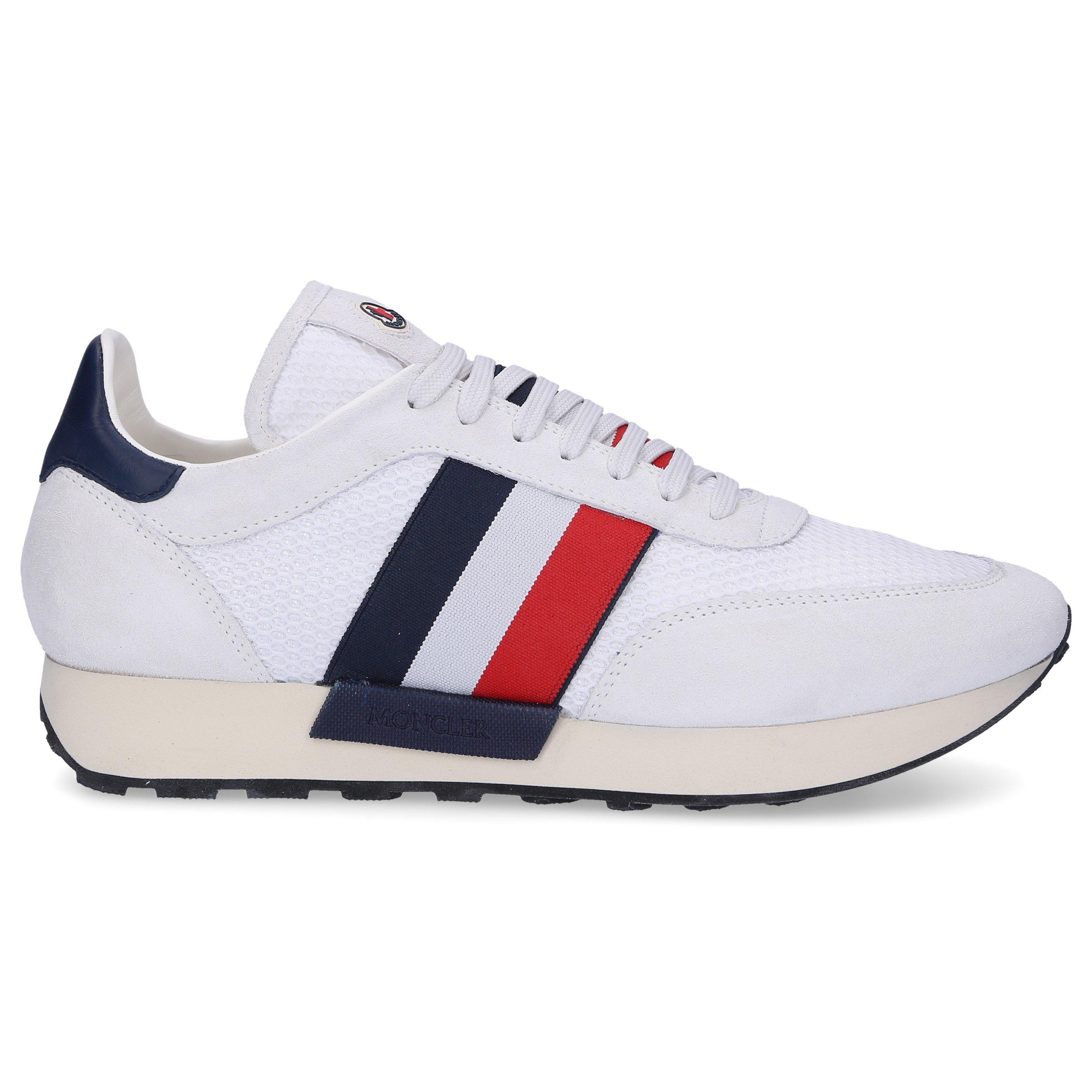 Moncler Sneaker low HORACE Kalbsvelours Mesh Logo Streifen weiß