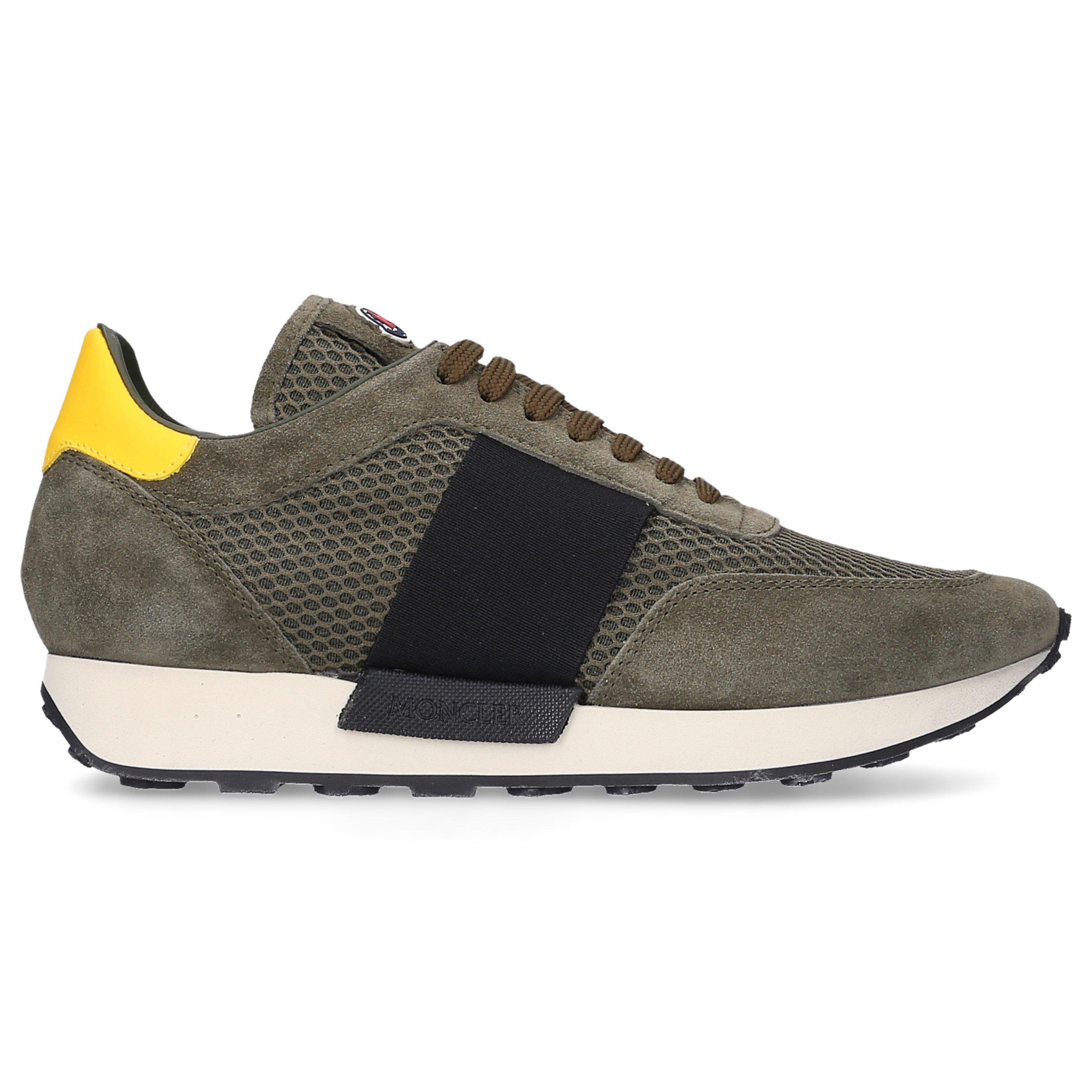 Moncler Sneaker low LOUISE  Gummi Mesh Veloursleder Logo khaki olive