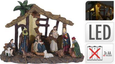 Weihnachtsstall mit Beleuchtung, H25,5 cm mehrfarbig