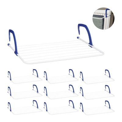relaxdays 10 x Hängetrockner Balkon Heizkörper, Wäscheaufhänger Heizung 4,8 m Trockenlänge blau/weiß