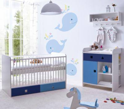 TiCAA Babyzimmer 3 teilig Cubo MDF mehrfarbig Gr. 70 x 140
