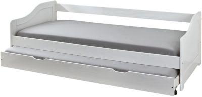Kiefer Masivholz Sofa-Bett mit Auszug Gäste-Bett weiß Gr. 80 x 190